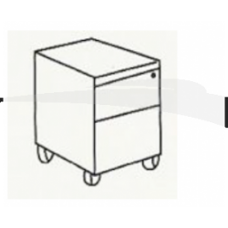 CAISSON MOBLIE 2 TIROIRS, 39 X 47 X 52 CM WENGÉ
